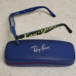 Ray Ban Glass Frames, Black/Green/Blue & Case